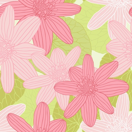 background with hand drawn flowers   Seamless Pattern  Vector