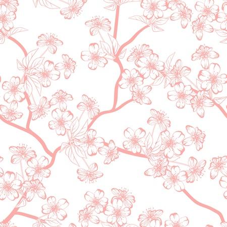 Cerezos en flor patrón de flores de fondo sin fisuras