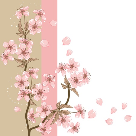 Cherry Tree  Card with stylized Stock Vector - 13397212