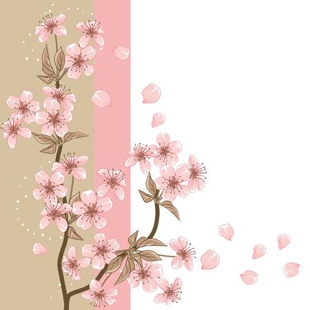 flor de sakura: Tarjeta de cerezo con estilizados