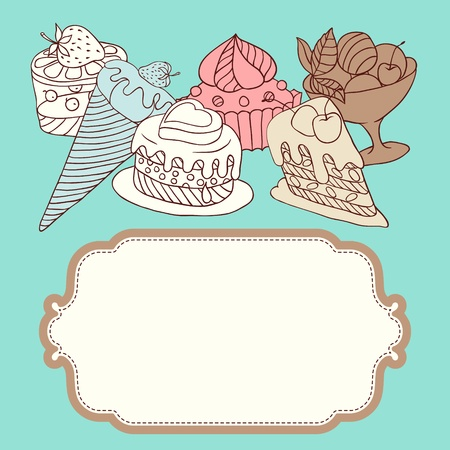 frame with and sweet little cupcakes Stock Vector - 13397144