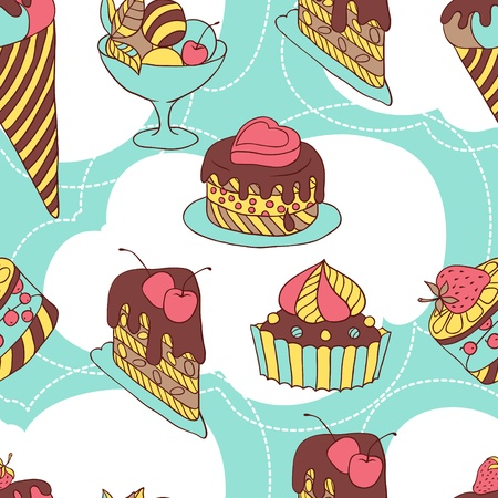 Holiday seamless pattern from sweet, cakes and acecream Vector