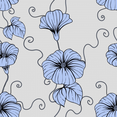 Seamless pattern with hand draw flowers, floral illustration  Vector