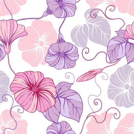 bindweed: Seamless pattern with hand draw flowers, floral illustration