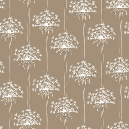 dandelion wind: Dry dandelion flowers - abstract seamless pattern