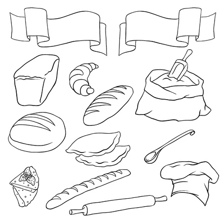 toasted bread: Vector set on the Bread theme  Isolated