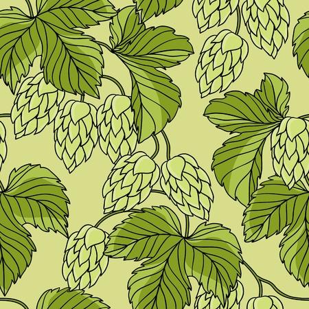 ječmen: Hop ornament na zelené grunge pozadí
