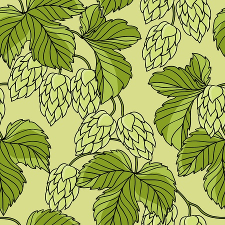 barley hop: Hop Ornament On Green Grunge Background
