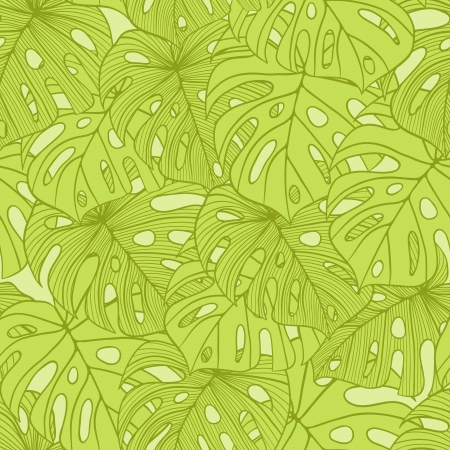 illustration leaves of palm tree  Seamless pattern  Vector