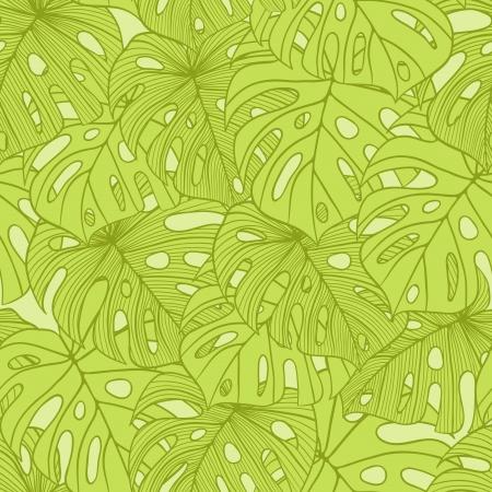 cicada: illustration leaves of palm tree  Seamless pattern