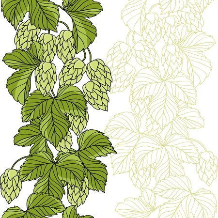 beer festival: Hop Ornament On Green Grunge Background