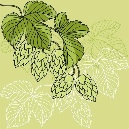Hop Ornament On Green Grunge Background Illustration Stock Vector - 13465268