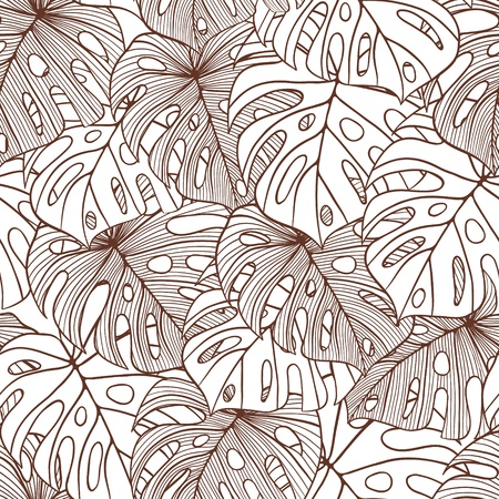 patterned wallpaper: illustration leaves of palm tree  Seamless pattern