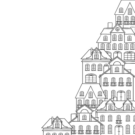 streetlamp: City sketch, houses background for your design  Illustration