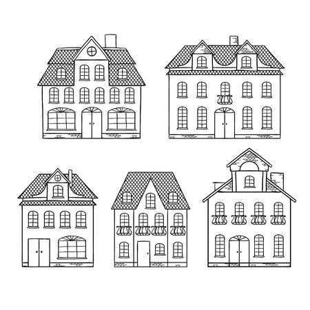 tile roof: Vecchie case disegno a mano isolati