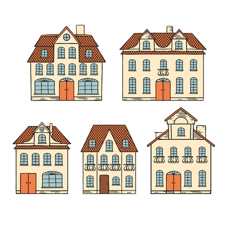 town homes: Old hand drawing houses isolated  Illustration
