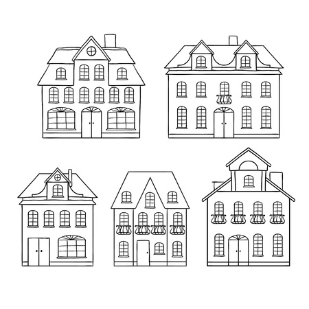 apartment tower old town: Old hand drawing houses isolated illustration  Illustration