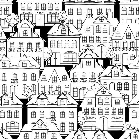 cute house: Seamless pattern with houses and trees