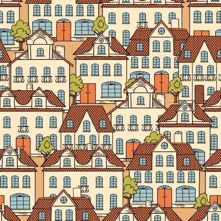 group travel: Seamless pattern with houses and trees