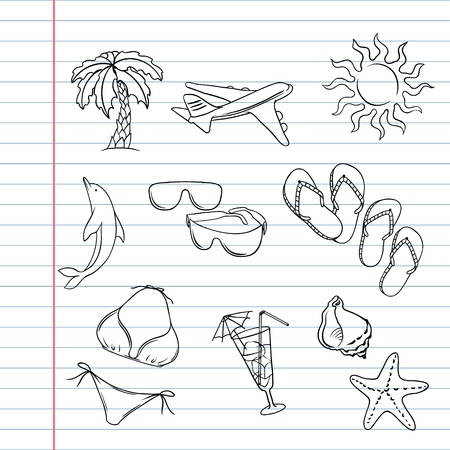 molluscs: Travel set with many hand draw tourism and vacation doodles