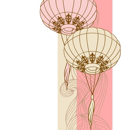 Fairy-verlichting Big traditionele Chinese lantaarns Stock Illustratie