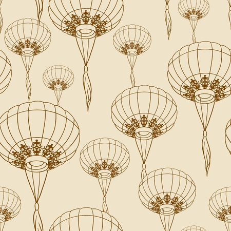 chinese pattern: Fairy-lights  Big traditional chinese lanterns  Vector  Illustration