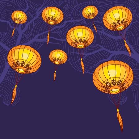 oriente: Cuento de grandes luces linternas chinas tradicionales