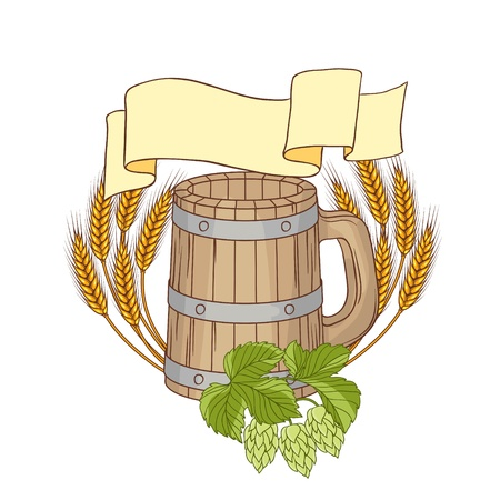 lager beer: illustration of a barrel, mug, wheat, hops