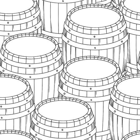 beer card: Barrel and cup seamless background illustration  Illustration