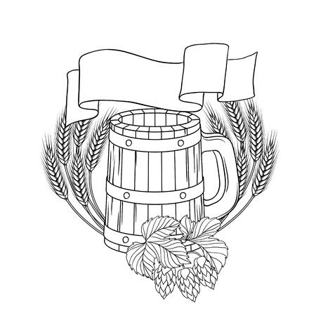 keg: illustration of a barrel, mug, wheat, hops