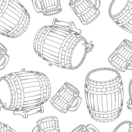 Barrel and cup seamless background illustration  Vector