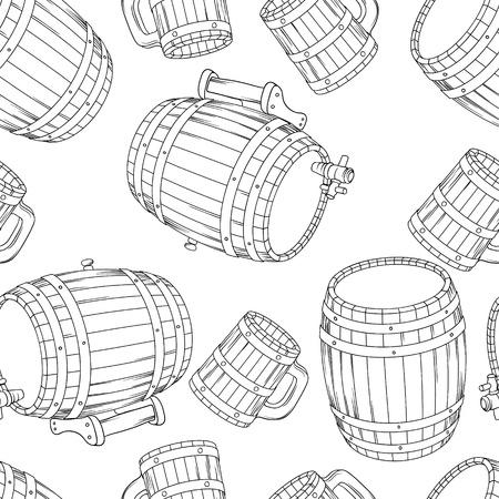 barrels set: Barrel and cup seamless background illustration  Illustration