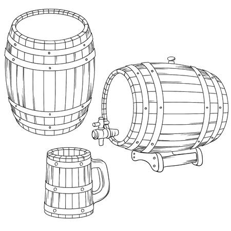 beer card: illustration of a barrel, mug isolated on white  Illustration