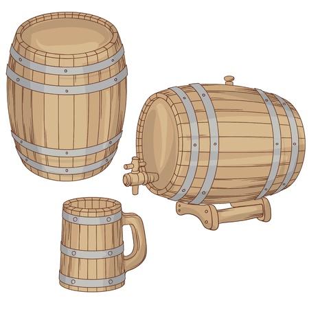 basement: illustration of a barrel, mug isolated on white  Illustration