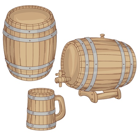 barrels set: illustration of a barrel, mug isolated on white  Illustration