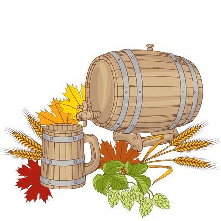 beer card: illustration of a barrel, mug, wheat, hops
