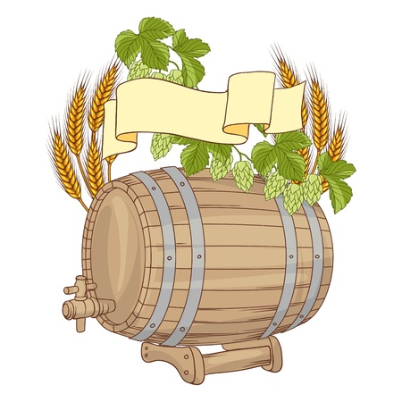 cellar:  illustration of a barrel, mug, wheat, hops