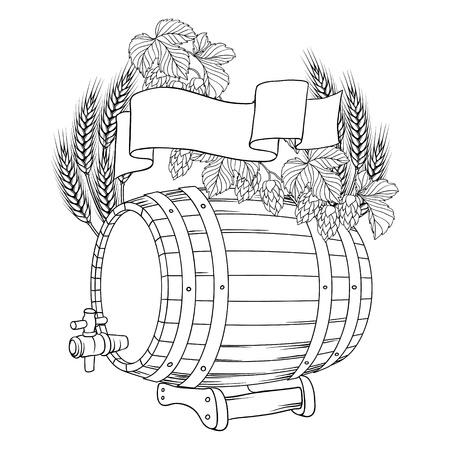 barrels set: illustration of a barrel, mug, wheat, hops