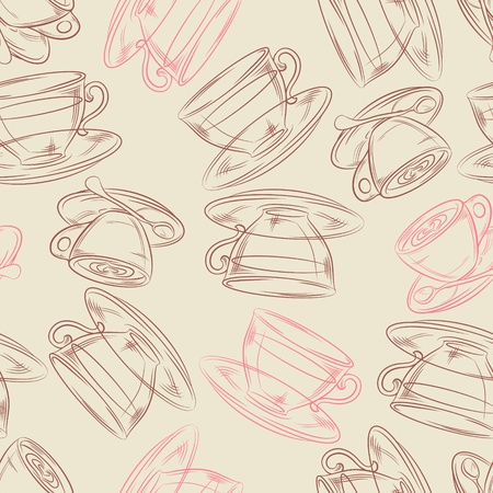 Coffee or tea time, seamless background for your design Vector