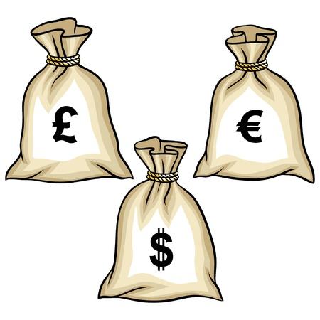billets euro: Sacs d'argent avec des dollars, euros et livres Illustration