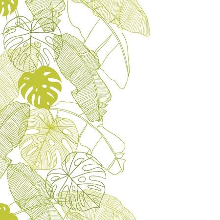 熱帯: パーム ツリー シームレス パターンの葉