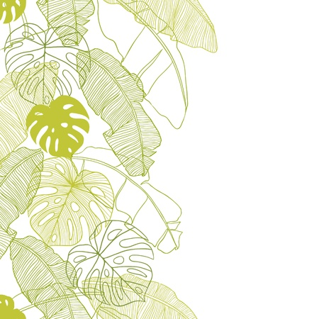 foliages:  leaves of palm tree  Seamless pattern