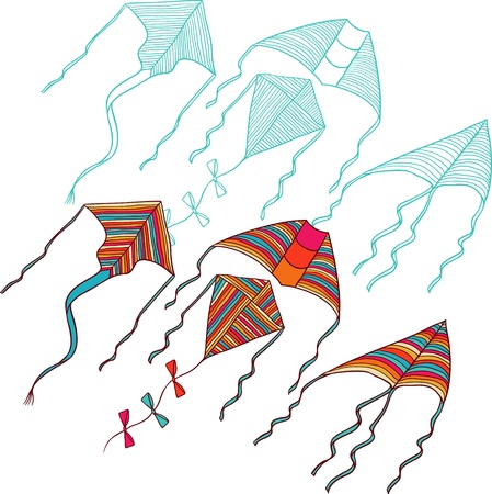 kites for your design  Hand drawn illustration  Vector