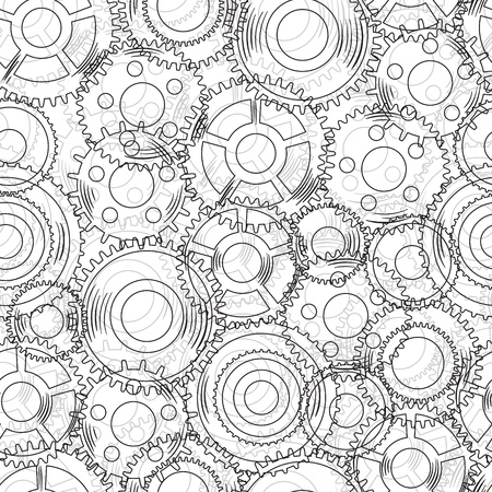 seamless texture with mechanical  gear and cogwheel  Vector
