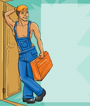 Cartoon character Illustration of plumber in a uniform  Vector