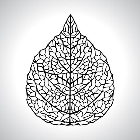 Negro, hoja, natural, Ilustración de vector