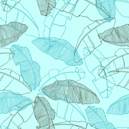 coconut palm: leaves of palm tree  Seamless pattern