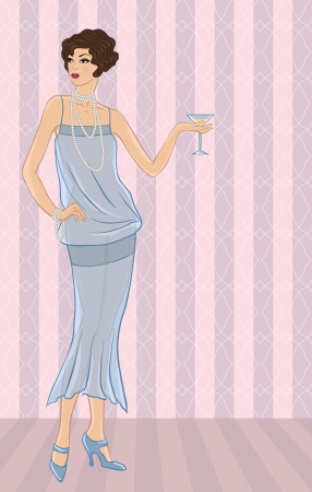 flapper: Retro party girl  Illustration