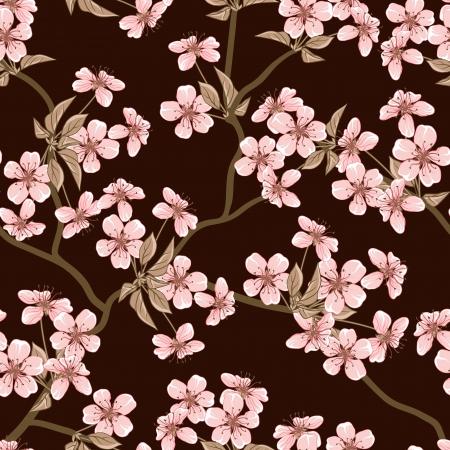 벚꽃 배경 원활한 꽃 패턴 일러스트