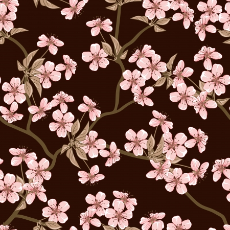 japanese garden: Cherry blossom background   Seamless flowers pattern  Illustration